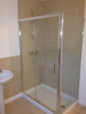 Walk-in chrome shower