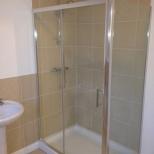 Walk-in chrome shower
